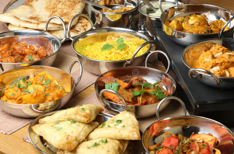 Indian Food Curry Meal Dishes stock photo