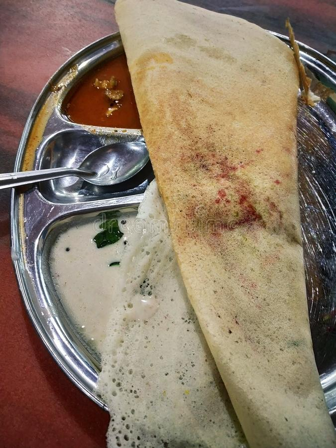 Indian food. Dosa, south, chutney royalty free stock photo
