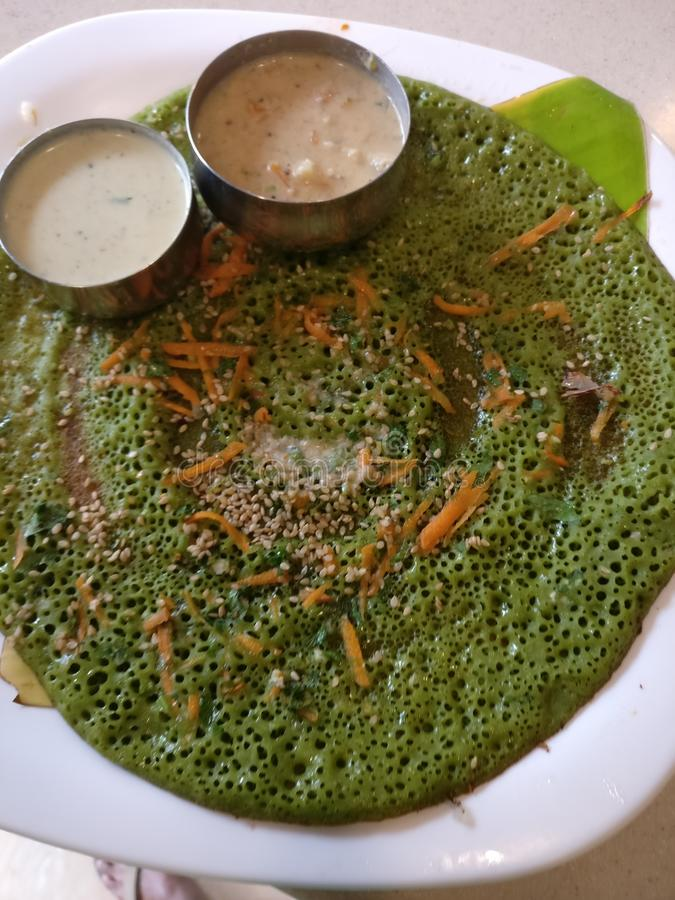 Indian food. Dosa south Indian food palak stock image