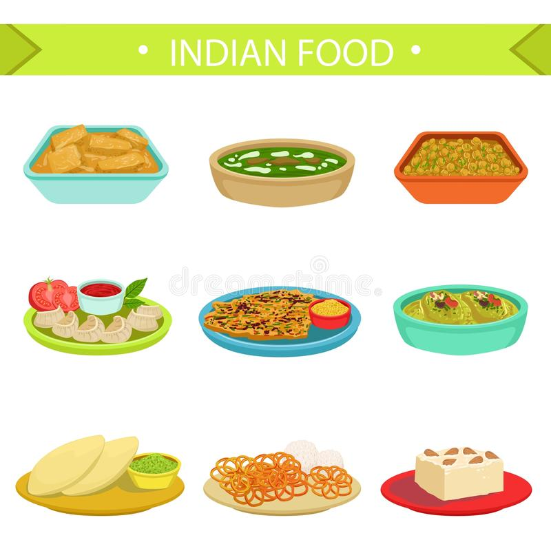 Indian food famous dishes illustration set stock vector for Art de cuisine plates