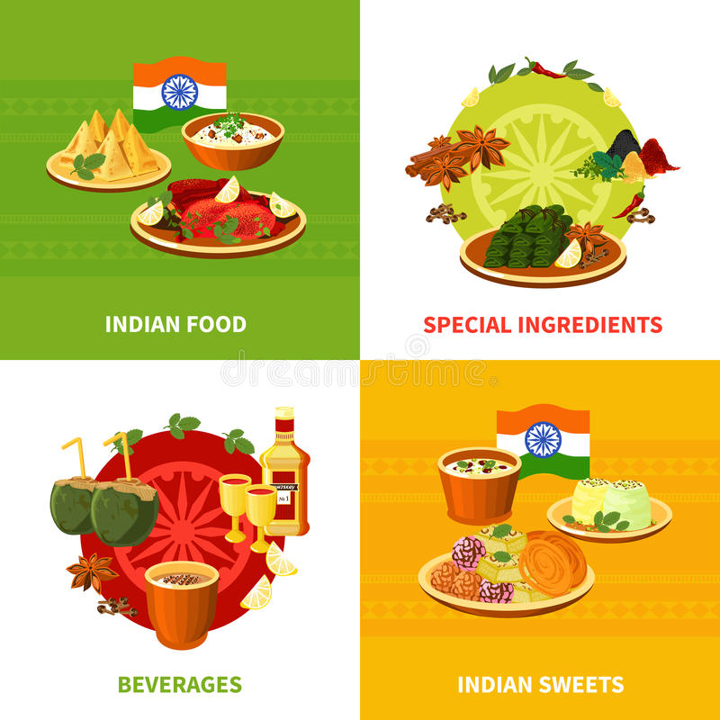 Indian Food 4 Flat Icons Square vector illustration