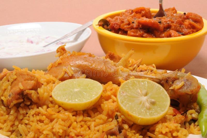 Indian food. Plate of chicken biriyani royalty free stock photography