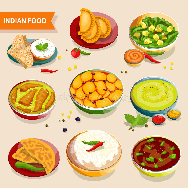 Indian Food Set. Of national dishes with rice beans chicken meat vegetables and spices vector illustration stock illustration