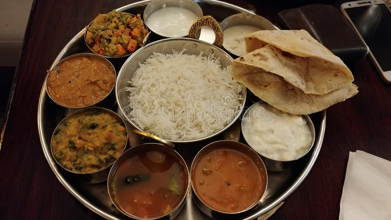 Indian food. South Indian food thali stock image