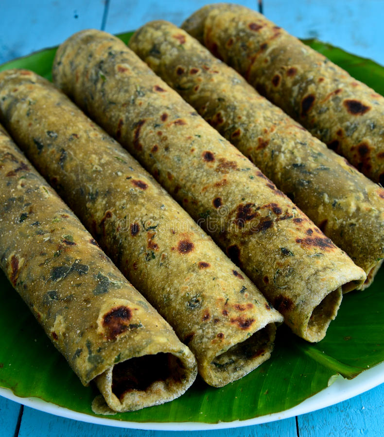Indian Food-Thepla. Special Gujarati food thepla is made of wheat flour and fenugreek leaves stock image