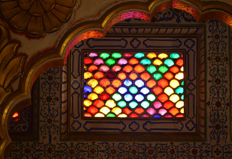 Indian fort window stained glass color stock photo