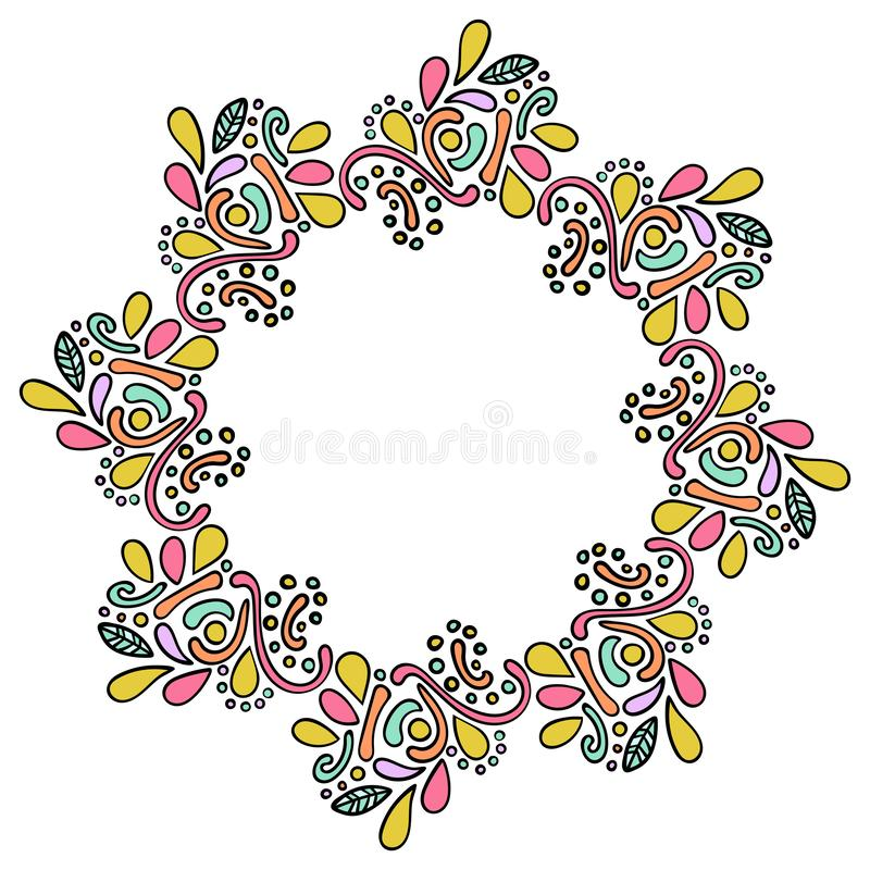 Colorful hand drawn mandala indian frame. Round curly frame isolated on white background royalty free illustration