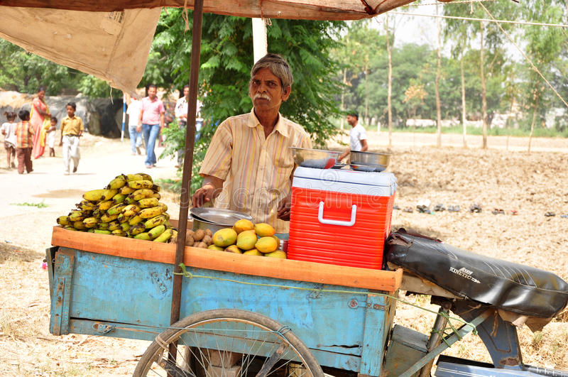 Indian fruit vendor stock photo