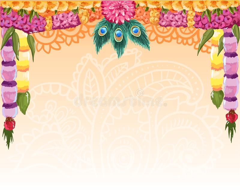 Indian garland background, great design with place for text. Vector card, banner stock images