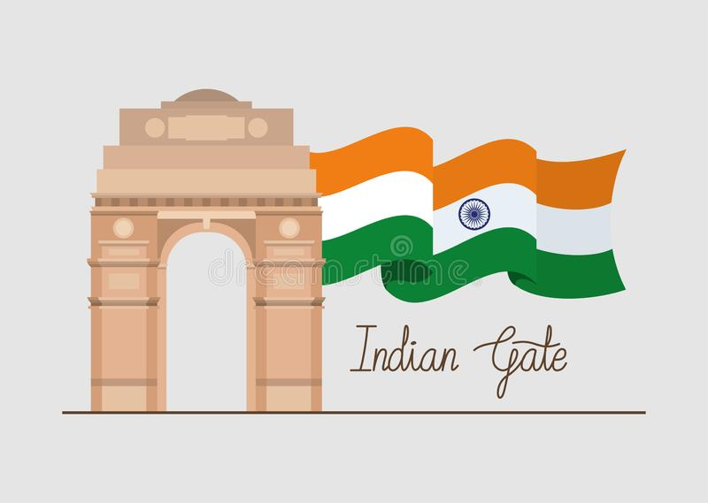 Indian gate temple with flag. Vector illustration design vector illustration