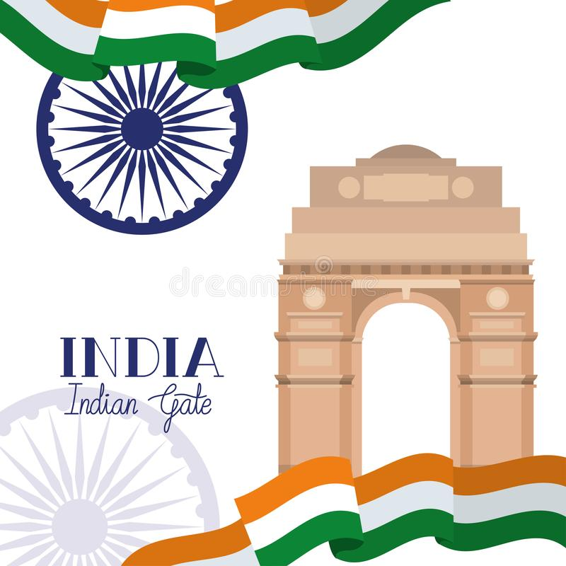 Indian gate temple with flag. Vector illustration design stock illustration