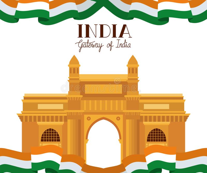 Indian gate temple with flag. Vector illustration design royalty free illustration