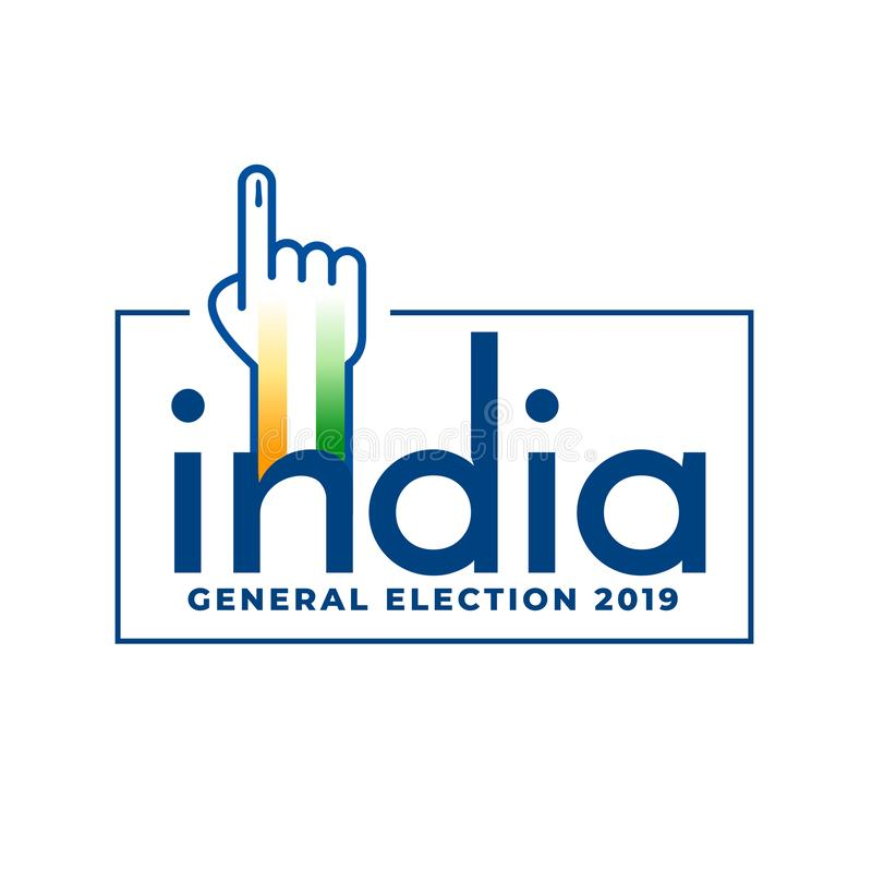 Indian general election 2019 voting concept design. Vector stock illustration