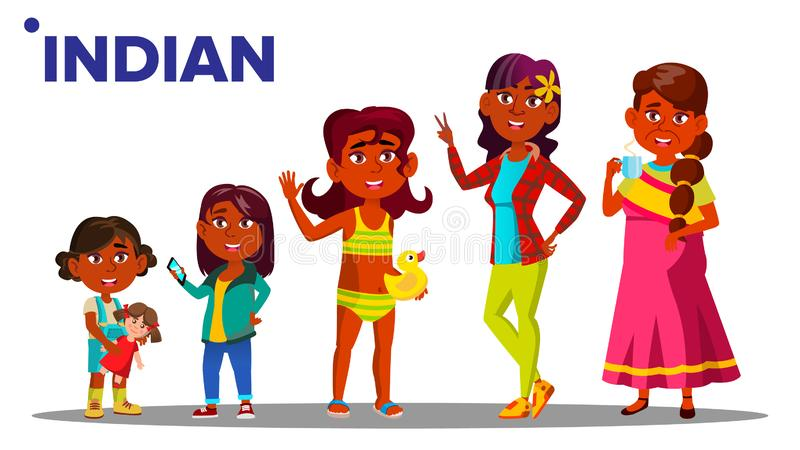 Indian Generation Female People Person Vector. Indian Mother, Daughter, Granddaughter, Baby, Teen. Vector. Isolated. Indian Generation Female Set People Person stock illustration
