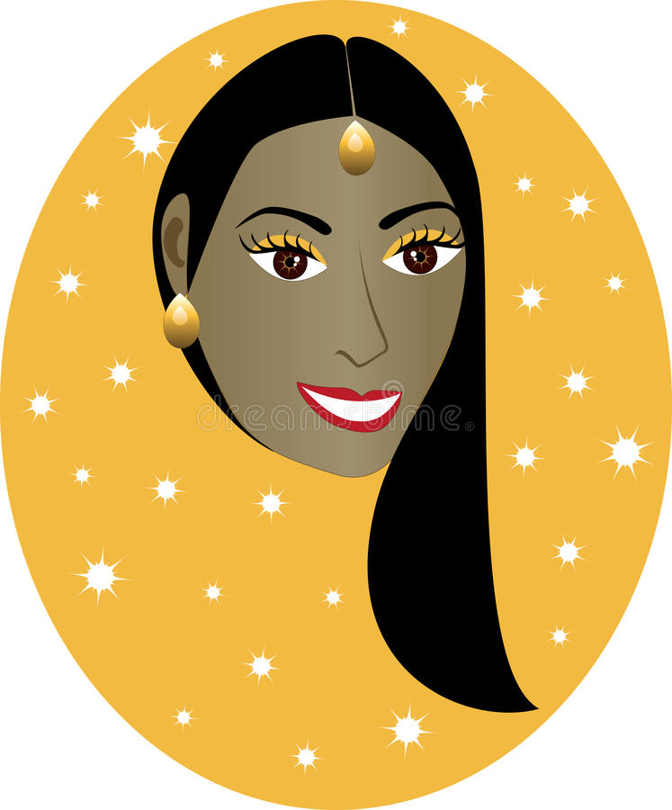 Indian Girl. Vector pretty Indian girl with orange/gold background. Great for personalization, see many other faces with different looks stock illustration