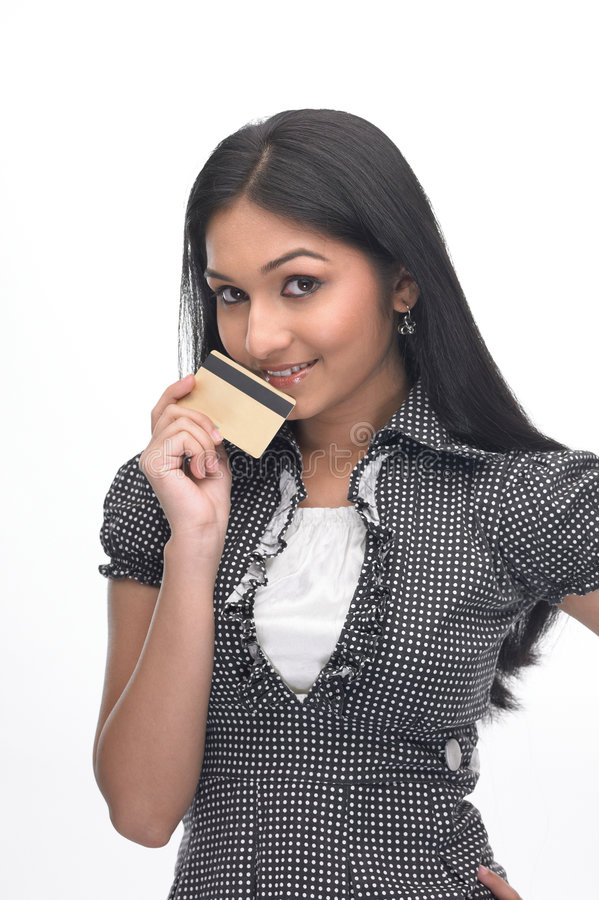Indian girl with credit-card royalty free stock photo