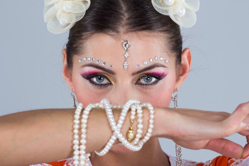 Indian girl dancing stock photos