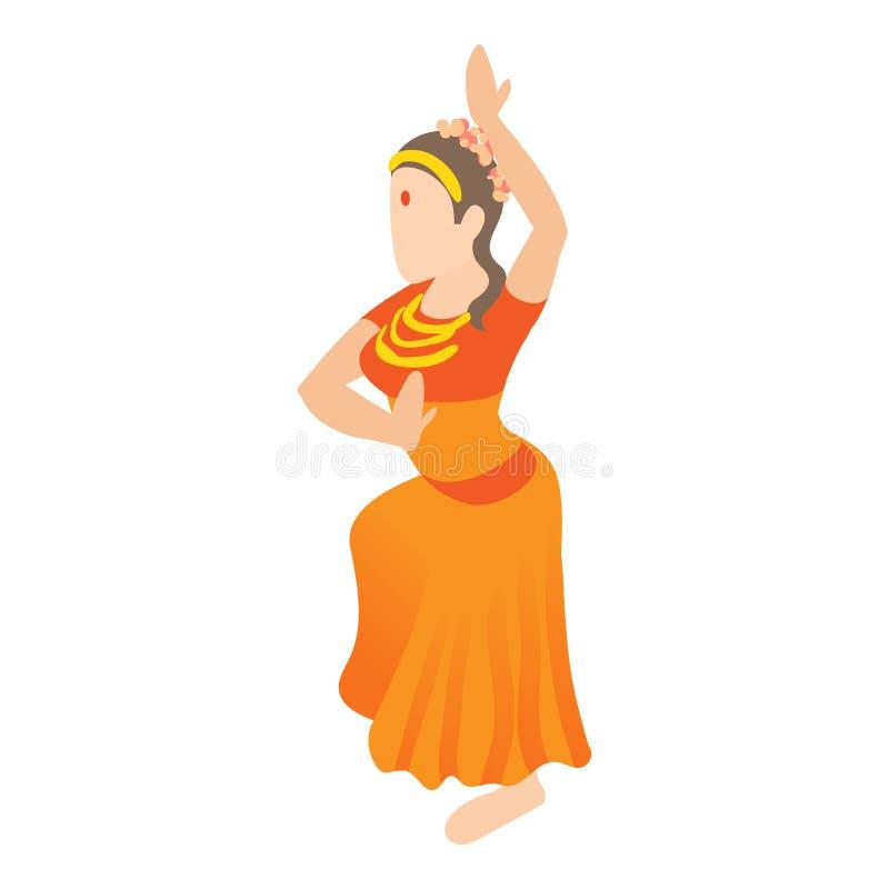 Indian girl dancing icon, cartoon style stock illustration