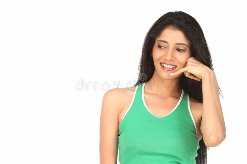 Indian girl doing action of calling royalty free stock images