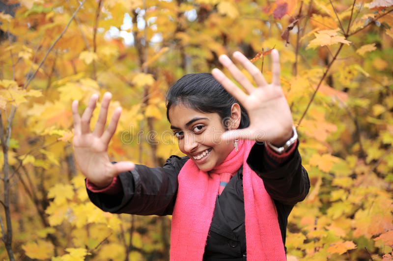 Download Indian Girl in Fall Season stock image. Image of forest - 27277943