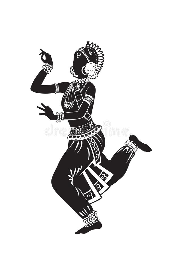 Ethnic dance of indian girl stock illustration