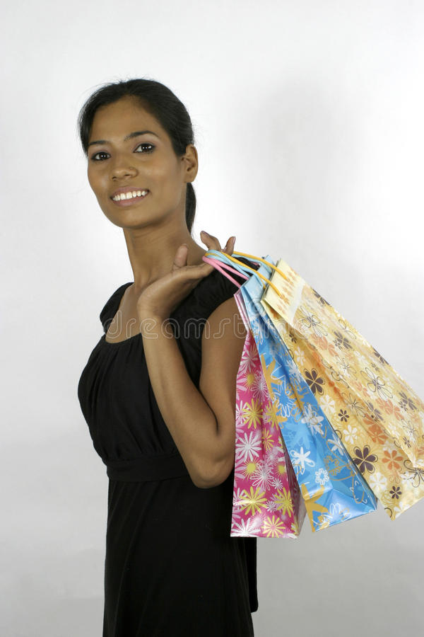 Indian girl shopping stock photography