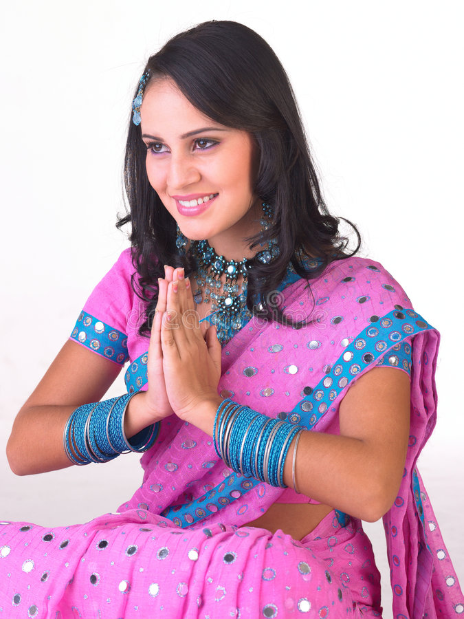 Indian girl in a welcome posture