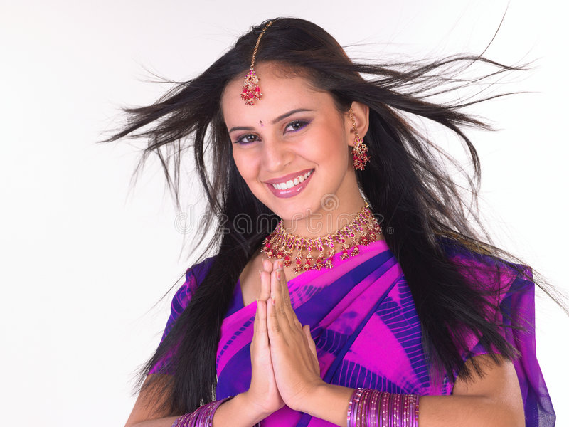 Download Indian Girl In Welcome Posture Stock Image - Image: 7761321