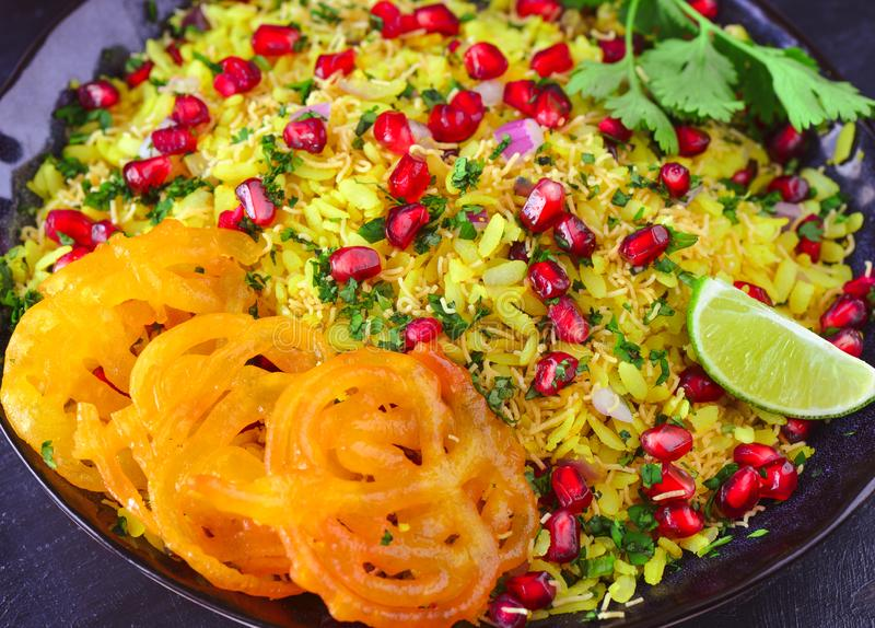 Indian glutenfree breakfast Poha Jalebi royalty free stock images