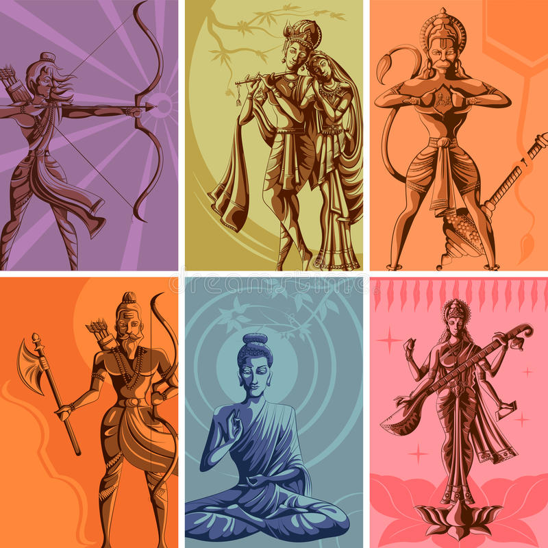 Indian God and Goddess Religious Vintage Poster. Vector illustration stock illustration