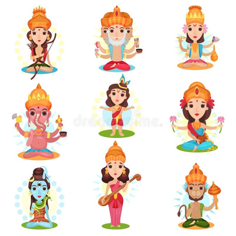 Indian god and goddess set, Rama, Brahma, Kali, Ganesha, Lakshmi, Shiva, Saraswati, Hanuman vector Illustrations on a. Indian god and goddess set, Rama, Brahma stock illustration