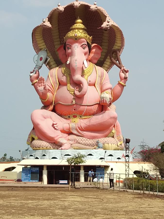 Indian god lord Ganesha tallest statue in town Kolhapur royalty free stock image