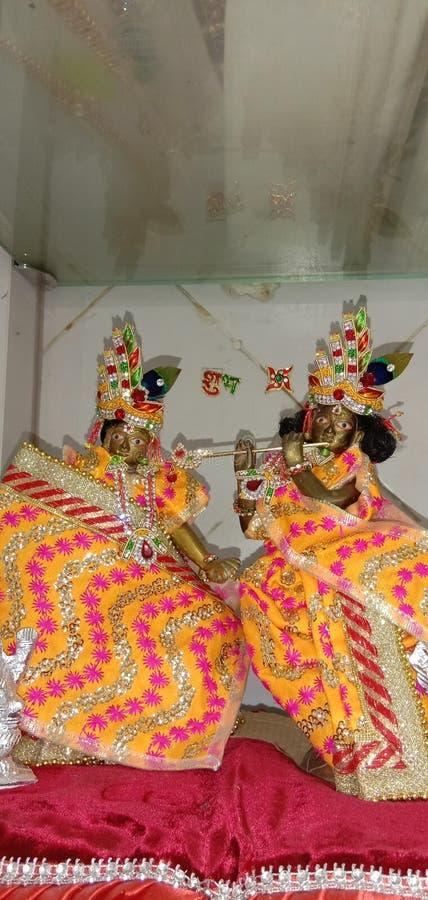 Indian God`s Radha Krishna temple. Mathura in India for kalchar stock photography