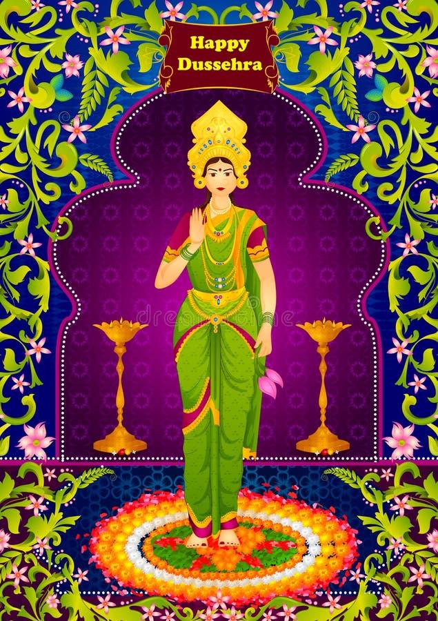 Indian Goddeess Lakshmi giving blessing stock illustration