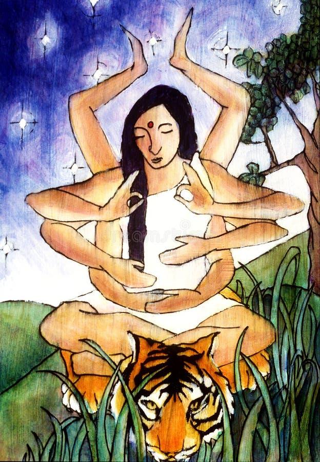 Indian Goddess Durga royalty free illustration