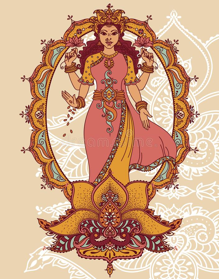 Indian goddess Lakshmi and royal ornament. Can be used as card for celebration Diwali festival - indian new year, vector illustration vector illustration