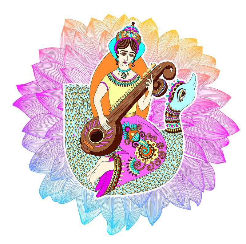 Indian goddess Saraswati playing on veena astride a swan. Against the background of a rainbow lotus, vector illustration royalty free illustration