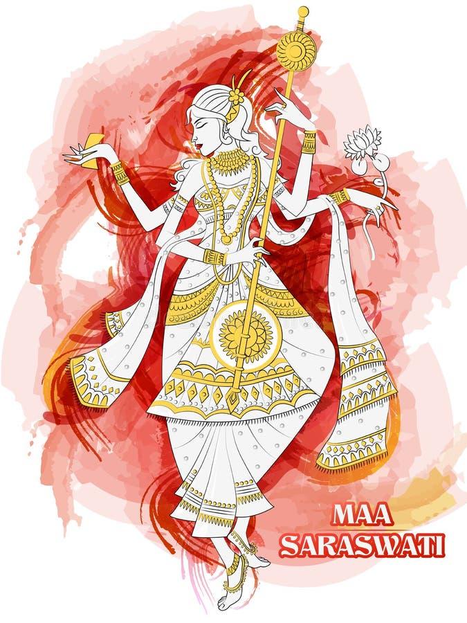 Indian Goddess Saraswati on Vasant Panchami Pooja festival background. Vector design of Indian Goddess Saraswati on Vasant Panchami Pooja festival background stock illustration