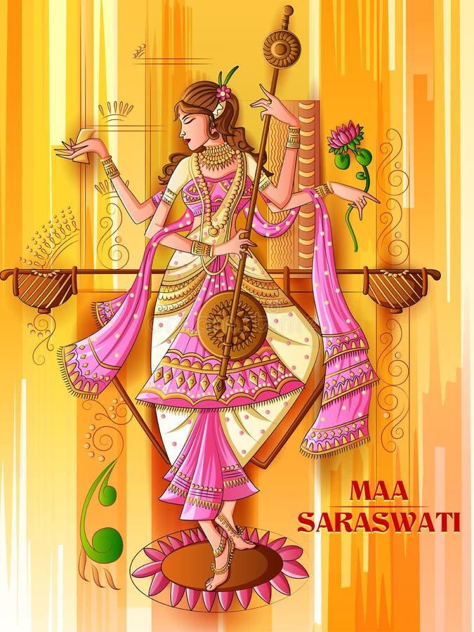 Indian Goddess Saraswati on Vasant Panchami Pooja festival background. Vector design of Indian Goddess Saraswati on Vasant Panchami Pooja festival background vector illustration