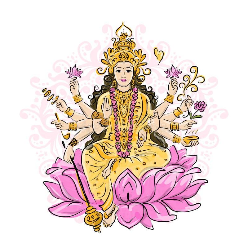 Indian goddess Shakti, sketch for your design. Vector illustration royalty free illustration