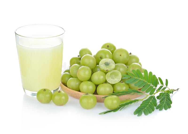 Indian gooseberry juice isolated on white background royalty free stock photography