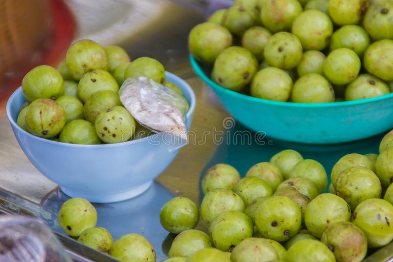 Indian gooseberry Phyllanthus emblica, also known as emblic, emblic myrobalan, myrobalan, Indian gooseberry, Malacca tree, or am stock photos