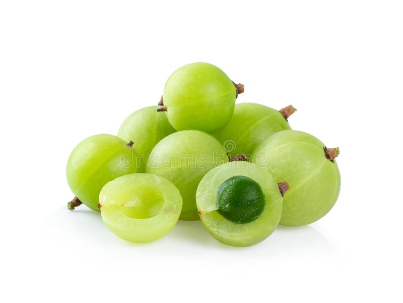Indian gooseberry on white background. Indian gooseberry isolated on white background stock photos