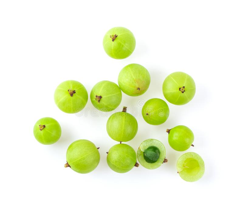 Indian gooseberry on white background. Top view stock photography