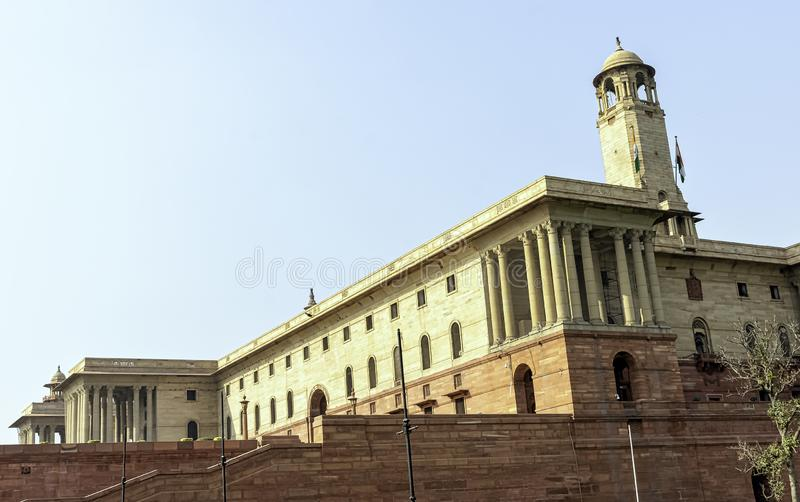 Indian Government buildings at the top of the Raj Path, New Delhi, India stock photos