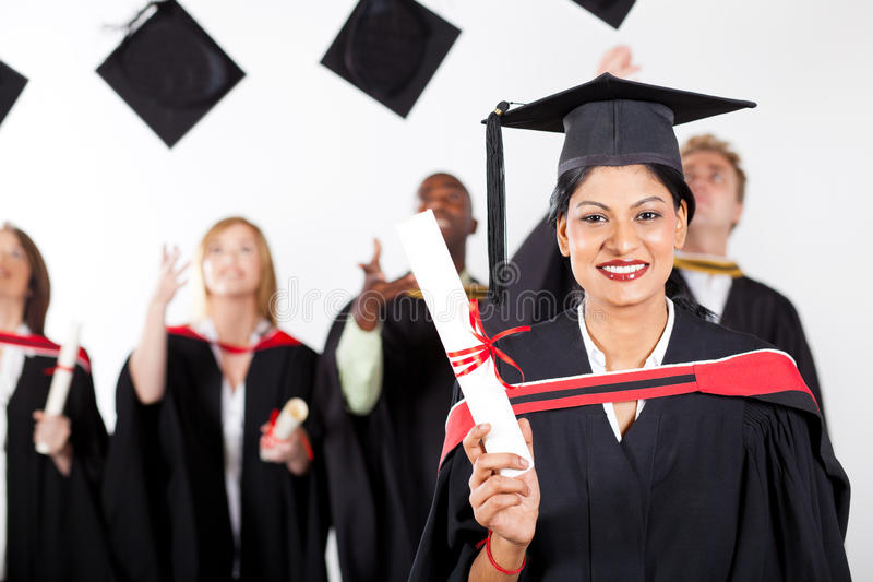 Indian graduate at graduation stock photos