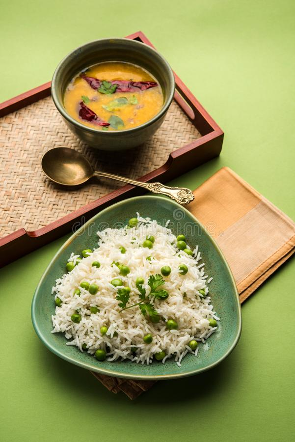 Indian green peas Rice or pulav or pilaf stock photography