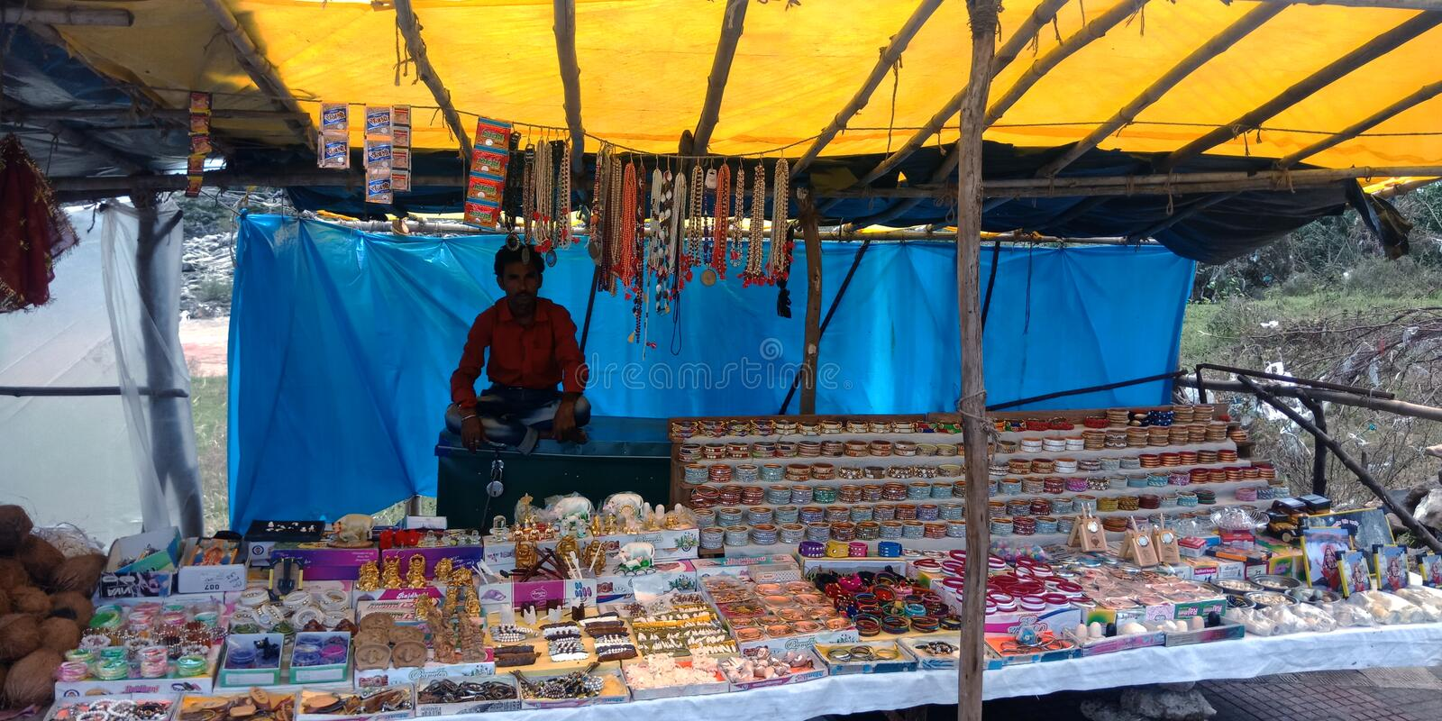 Indian handcrafted items store at tourist place stock photos
