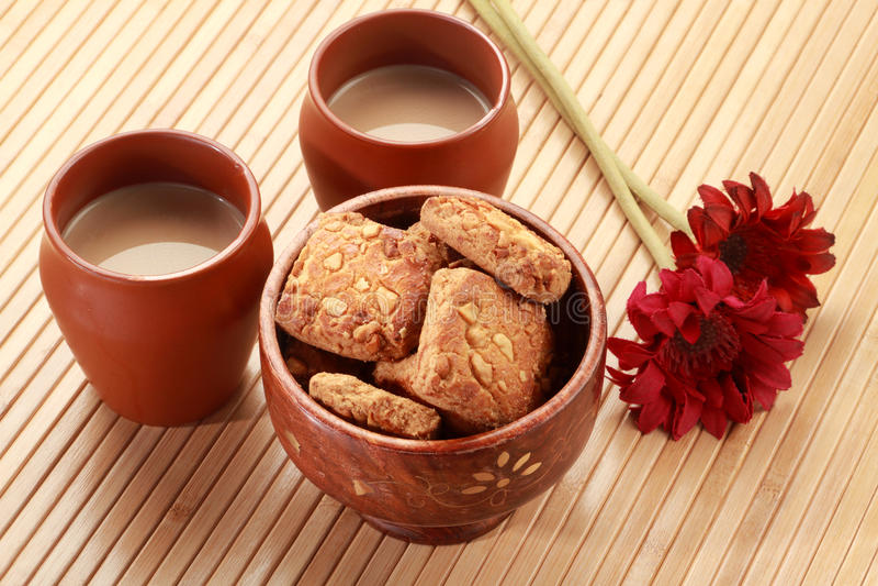 Indian Food Spicy Samosa With Tea And Chutney Stock Photo ...