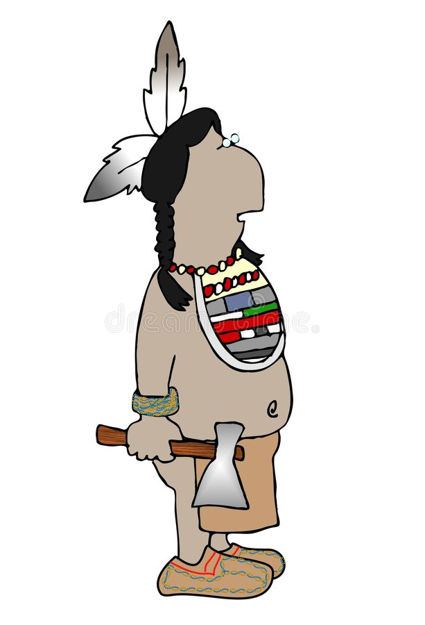Indian with a hatchet. This illustration depicts a native American Indian with a hatchet royalty free illustration